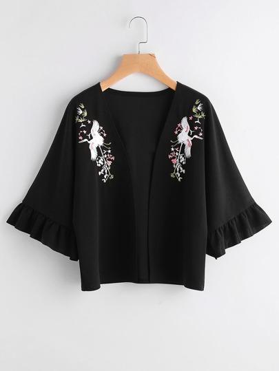 Kimono con maniche svasate e ricamo di crane