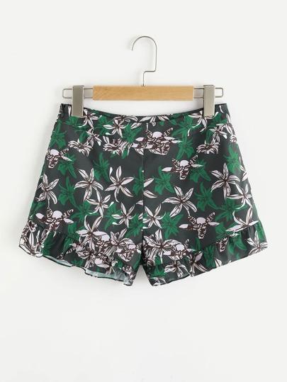 Pantaloni floreale con cerniera laterale