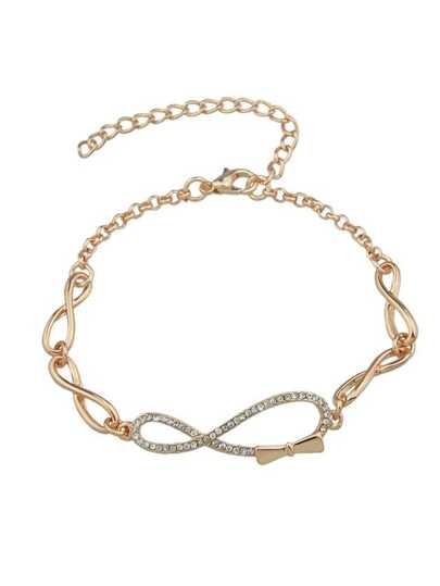 Trendy Rose Gold Rhinestone Bow Shape Chain Link Bracelet