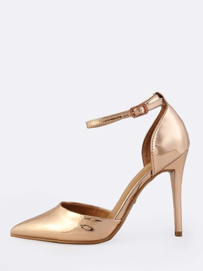 Patent Point Toe Ankle Strap Heels ROSE GOLD