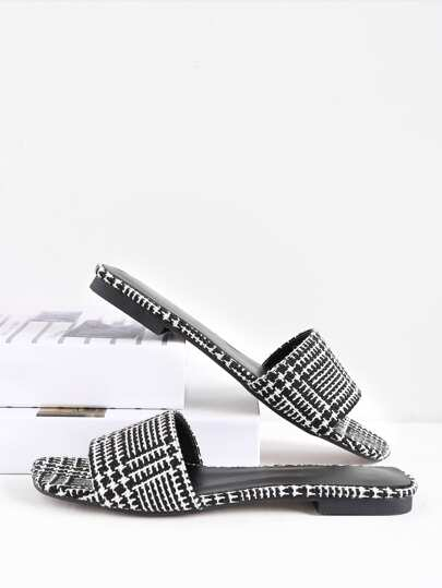 Two Tone Plaid Slide Sandals