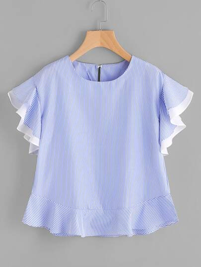 Pinstripe Frill Sleeve Keyhole Back Top