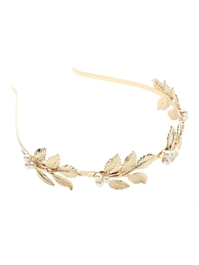 Faux Pearl Detail Leaf Headband