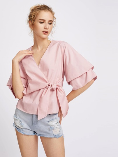 Layered Sleeve Bow Front Surplice Wrap Top
