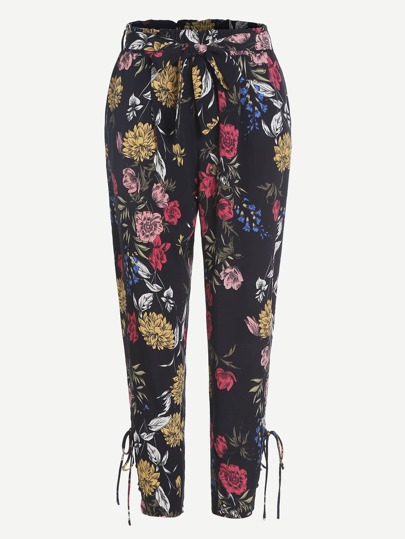 Floral Print Lace Up Side Pants