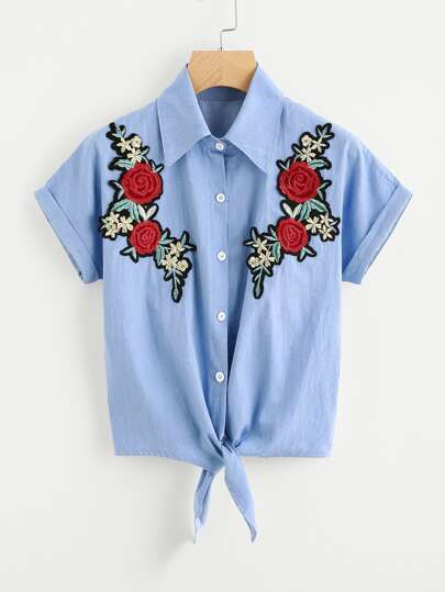 Floral Embroidered Patch Knot Front Cuffed Chambray Shirt