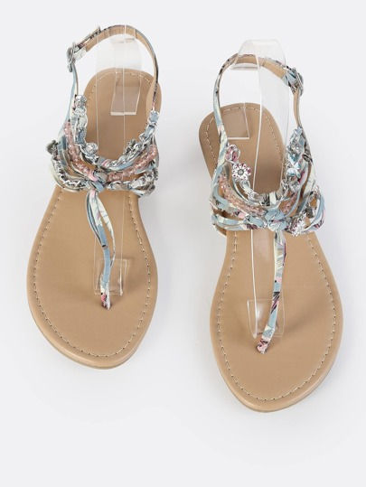 Multi Thread Jewel Thong Sandals LIGHT BLUE