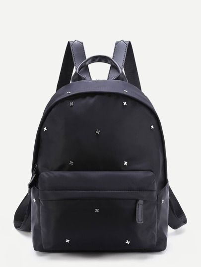 Cross Embellished Front Pocket Zipper Backpack