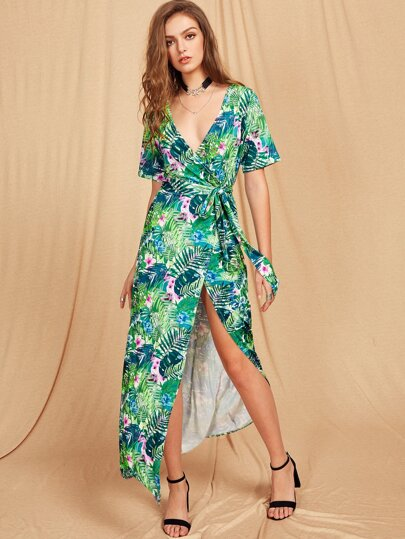 Wrap V Neckline Palm Leaf Print Self Tie Slit Dress