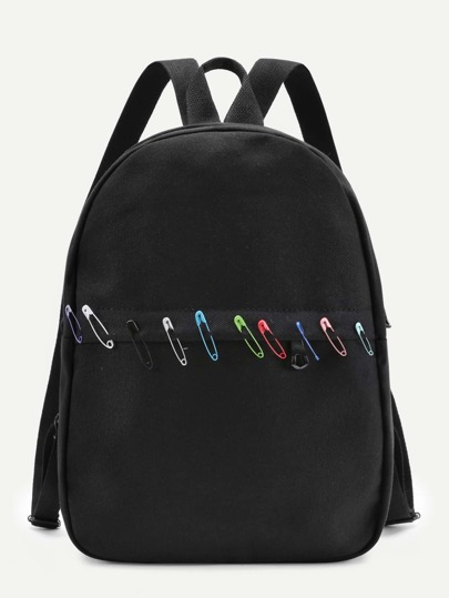 Paper Clip Decorated Canvas Backpack