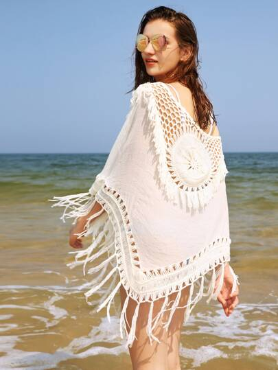 Hollow Out Crochet Panel Fringe Trim Cover Up