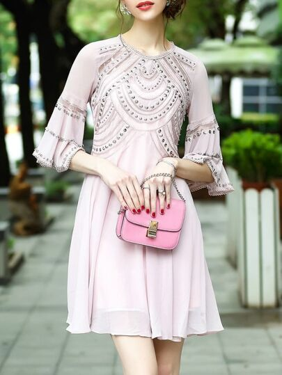 Bell Sleeve Beading Mesh Dress