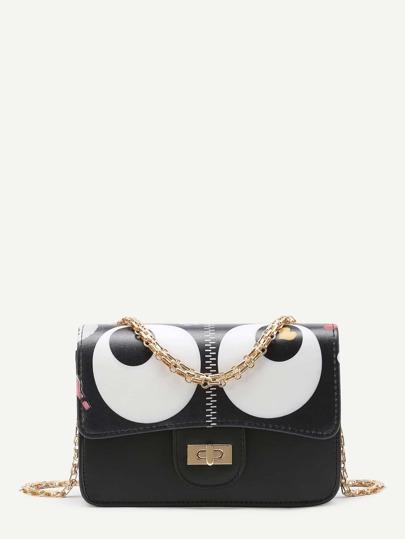 Eye Print Flap Chain Crossbody Bag