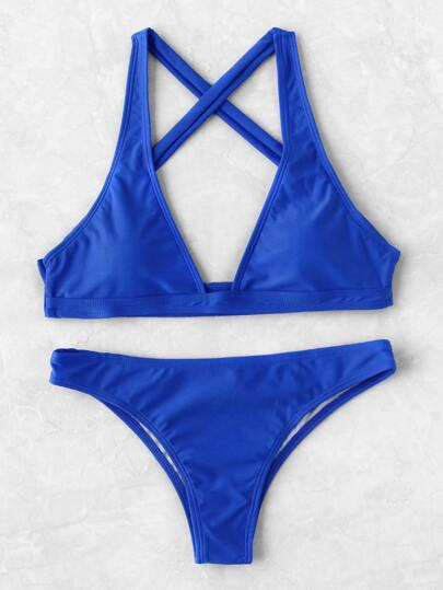 Plunge Neck Cross Back Bikini Set