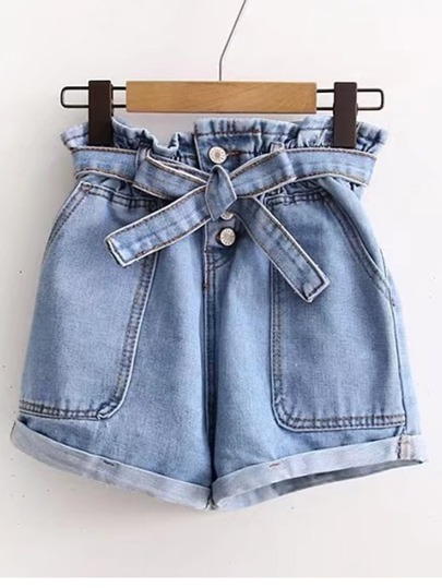 Tie Waist Rolled Hem Denim Shorts