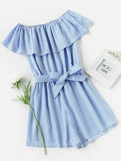 Frill Bardot Self Tie Striped Romper