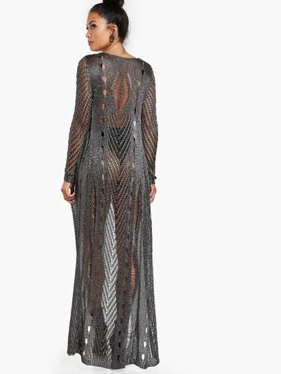 Netted Long Sleeve Maxi Cardigan CHARCOAL GREY