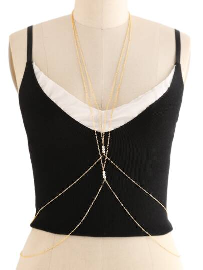 Faux Pearl Embellished Criss Cross Body Harness