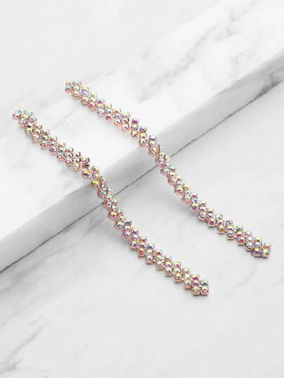 Rhinestone Strand Drop Earrings