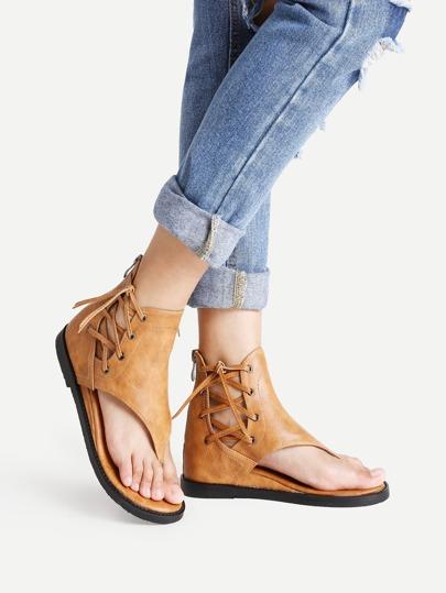 Sandalias de pu con cordones