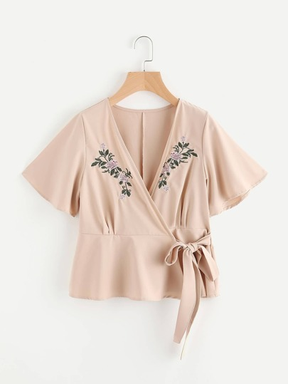 Embroidered Wrap Self Tie Top