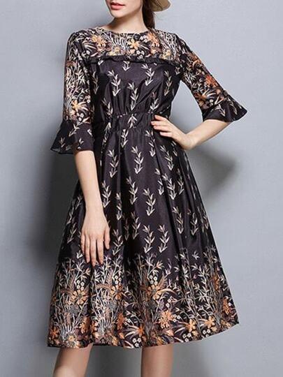 Bell Sleeve Print A-Line Dress