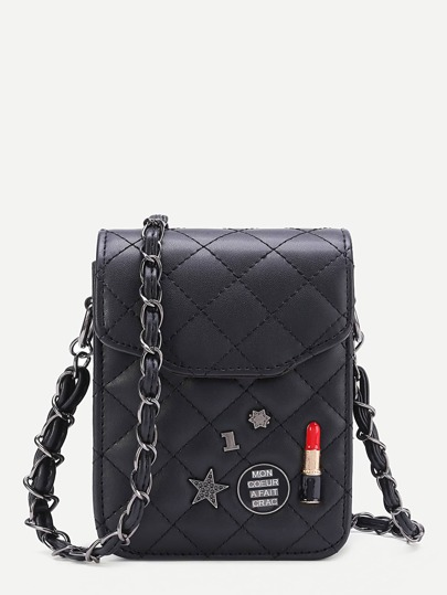 Lipstick Quilted Crossbody Bag