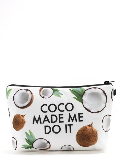 Estuche de maquillaje con estampado de coco y letras