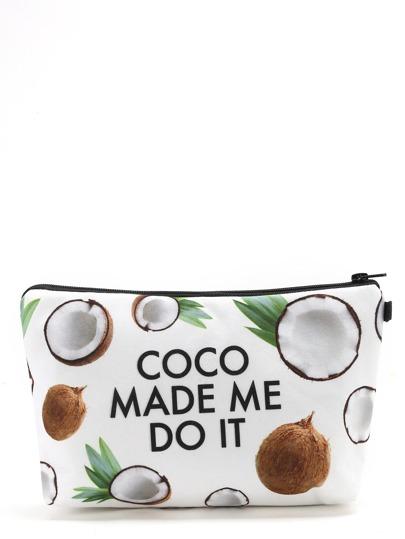 Coco & Letter Print Makeup Bag