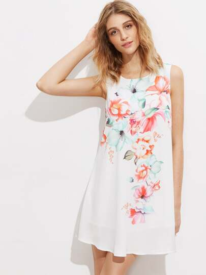 Flower Print Curved Longline Swing Tank Top