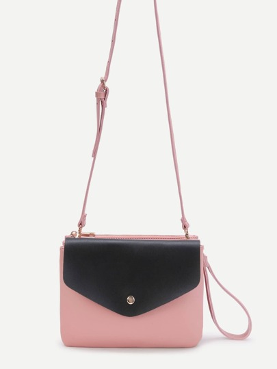 Two Tone Removable Shoulder Bag With Clutch