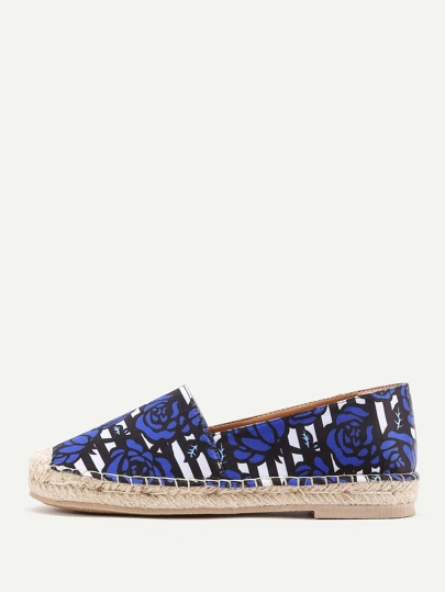 Rose & Striped Print Espadrille Flats