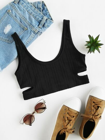 Cutout Ribbed Knit Sports Bra
