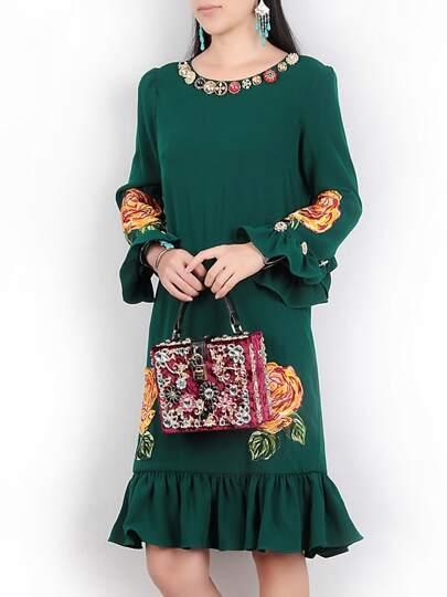 Модное платье со сборкой и цветочным принтом, рукав клёш