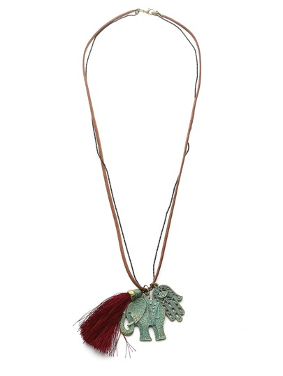 Elephant & Tassel Layered Pendant Necklace