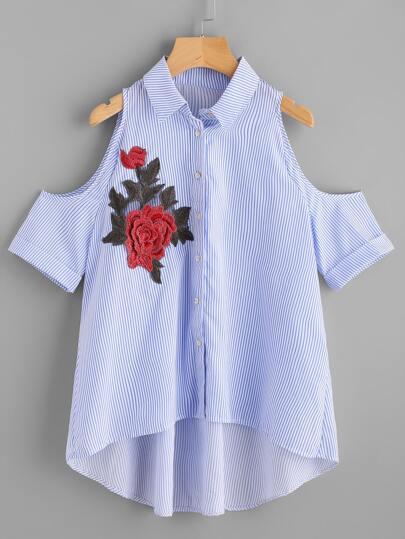 Schulterfreie Bluse mit Applikation und abfallendem Saum