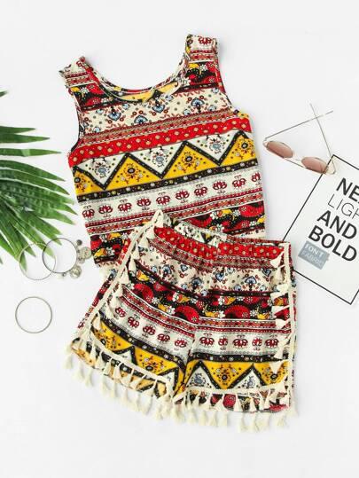 Top imprimé tribal avec des franges &Shorts