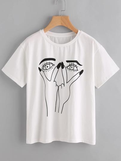 Drop Shoulder Cartoon Face Tee