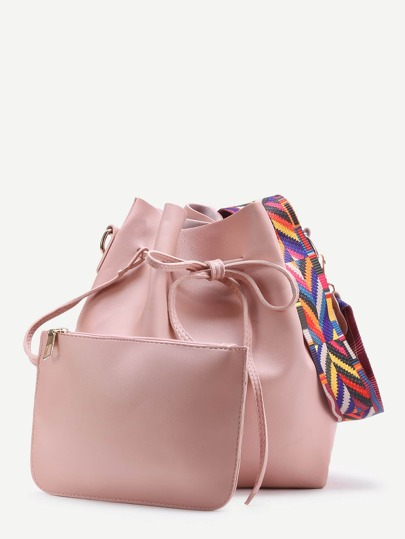 Contrast Strap Drawstring Bucket Bag With Crossbody Bag