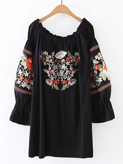 Boat Neckline Lantern Sleeve Embroidered Dress
