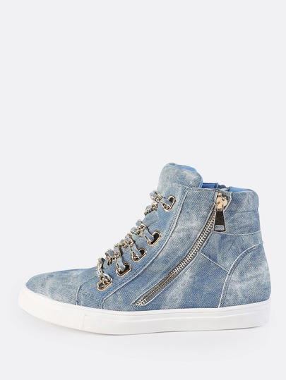 Denim Chain High Top Sneakers DENIM