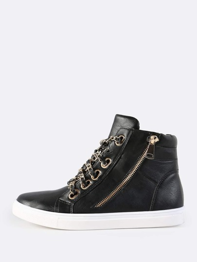 High Top Chain Link Sneakers BLACK