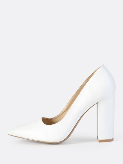 Faux Leather Closed Toe Chunky Heel WHITE
