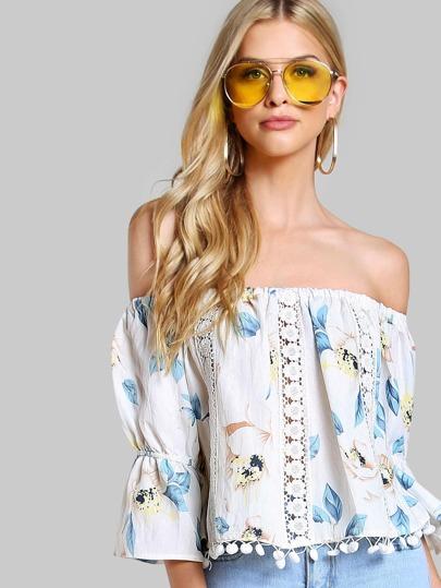 Off Shoulder Floral Crochet Top IVORY BLUE