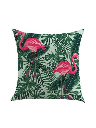 Jungle & Flamingo Print Pillowcase Cover