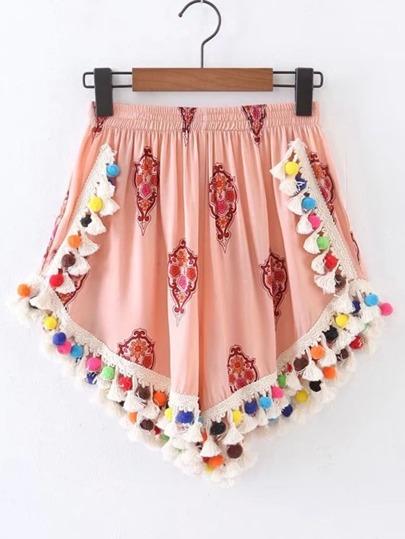 Shorts con cintura elástica con pompones