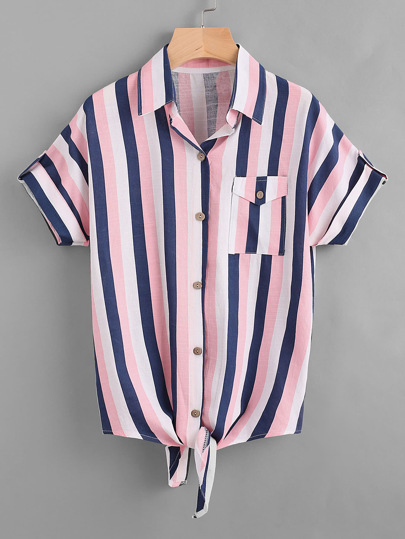 Contrast Striped Knotted Hem Shirt