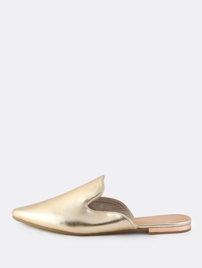 Metallic Closed Toe Slip Ons GOLD