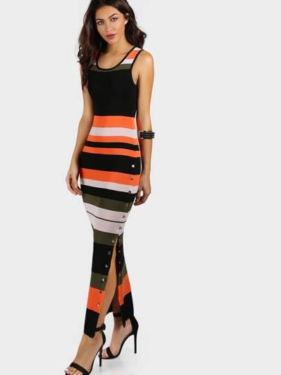 Snap Button Bodycon Maxi Dress MULTI