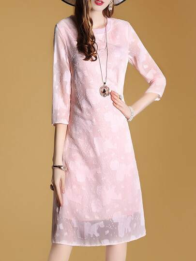 Applique Pouf Sheer Sleeve Dress